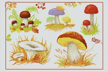 Категория.  Фрукты, Овощи, Натюрморт.  Вышивка крестиком - Грибы.  Просмотров: 394 Дата.  28.11.2011.