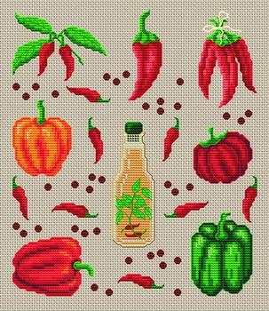 вышить крестиком фрукты и овощи.